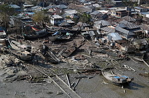 Cyclone Sidr - Houses damaged by the cyclone.