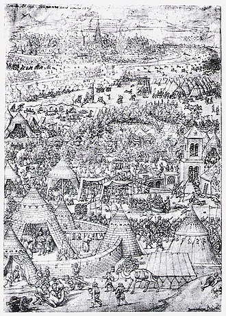 Siege of Vienna - Contemporary 1529 engraving of clashes between the Austrians and Ottomans outside Vienna, by Bartel Beham