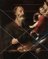 Simone Cantarini (attr) Lukas malt die Madonna with hypothetical lines the painter could have used.png