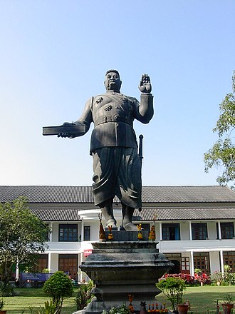 French Protectorate of Laos - Statue of Sisavang Vong, King of Luang Phrabang 1904-46, King of Laos 1946-59 (In the grounds of the Royal Palace Museum, Luang Phrabāng)