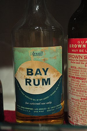 Bay rum - This Rexall bay rum is from the Prohibition era in the United States.