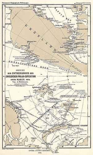 British Arctic Expedition - Map by cartographer August Heinrich Petermann, indicating the discoveries during this expedition.