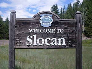 Slocan, British Columbia - Slocan's welcome sign
