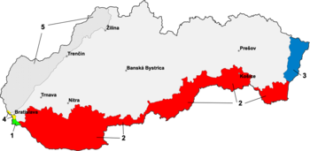 Map of Slovakia reflecting southern losses to Hungary