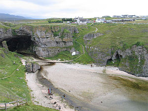 Durness - Durness with Smoo Cave; the youth hostel is up on the right