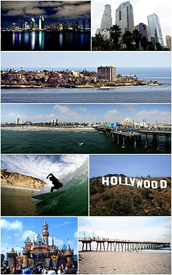 Southern California Images top to bottom, left to right: San Diego Skyline, Downtown Los Angeles, Village of La Jolla, Santa Monica Pier, Surfer at Black's Beach, Hollywood Sign, Disneyland, Hermosa Beach Pier