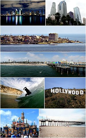 Southern California Gambar dari atas ke bawah, kiri ke kanan: San Diego Skyline, Downtown Los Angeles, Village of La Jolla, Santa Monica Pier, Surfer at Black's Beach, Hollywood Sign, Disneyland, Hermosa Beach Pier