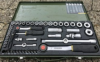 A professional socket toolset in a metal box, containing ratcheting socket wrenches in two sizes, sockets, bits and accessories. Such toolsets are standard equipment in mechanical workshops of various types. The image contains annotated descriptions for each item, visible when enlarged. Socket set with two ratchets in metal box.jpeg
