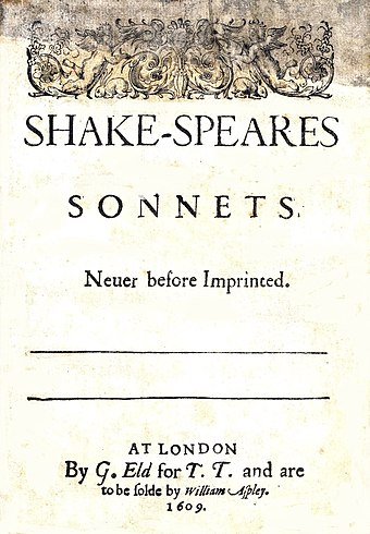 Title page from 1609 edition of Shake-Speares Sonnets Sonnets1609titlepage.jpg