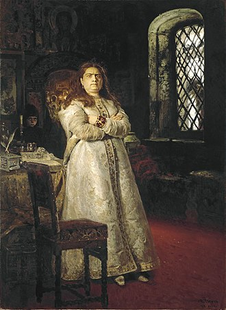 Sophia Alekseyevna of Russia - Ilya Repin's 1879 painting portrays Sophia after her fall from power, confined to a cell in the Novodevichy Convent. Also in the painting, outside the window, a hanging Strelets shows the fate of those who sought to reinstate her.