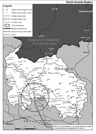 Georgian–Ossetian conflict - Detailed map of South Ossetia showing the secessionist and Georgian-controlled territories, November 2004.
