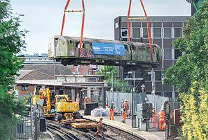 London Underground 1983 Stock - South Harrow 1983 stock removal by crane