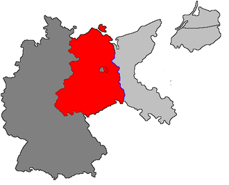 On the basis of the Potsdam Conference, the Allies jointly occupied Germany west of the Oder-Neisse line, later forming these occupied territories into two independent countries. Light grey: territories annexed by Poland and the Soviet Union; dark grey: West Germany (formed from the US, UK and French occupation zones, including West Berlin); red: East Germany (formed from the Soviet occupation zone, including East Berlin). Soviet Sector Germany.png