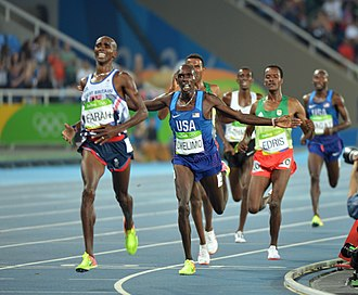 Paul Chelimo - Spc. Paul Chelimo of the U.S. Army World Class Athlete Program finishes runner-up to Mo Farah of Great Britain to claim the silver medal in the men's 5,000-meter run with a personal-best time of 13 minutes, 3.90 seconds at the Rio Olympic Games in Rio de Janeiro.