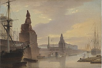 Imperial Academy of Arts - Maksim Vorobyov, Egyptian sphinxes lining Academy Quay, 1835