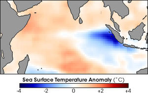 Indian Ocean Dipole - Water temperatures around the Mentawai Islands dropped about 4° Celsius during the height of a positive phase of the Indian Ocean Dipole in November 1997. During these events unusually strong winds from the east push warm surface water towards Africa, allowing cold water to upwell along the Sumatran coast. In this image blue areas are colder than normal, while red areas are warmer than normal.
