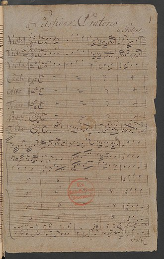 Passions (Bach) - First page of a manuscript copy from around 1750 of Gottfried Heinrich Stölzel's Ein Lämmlein geht und trägt die Schuld Passion oratorio (1720)