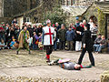 St George slays Bold Slasher - Heptonstall Pace Egg Play - geograph.org.uk - 818905.jpg