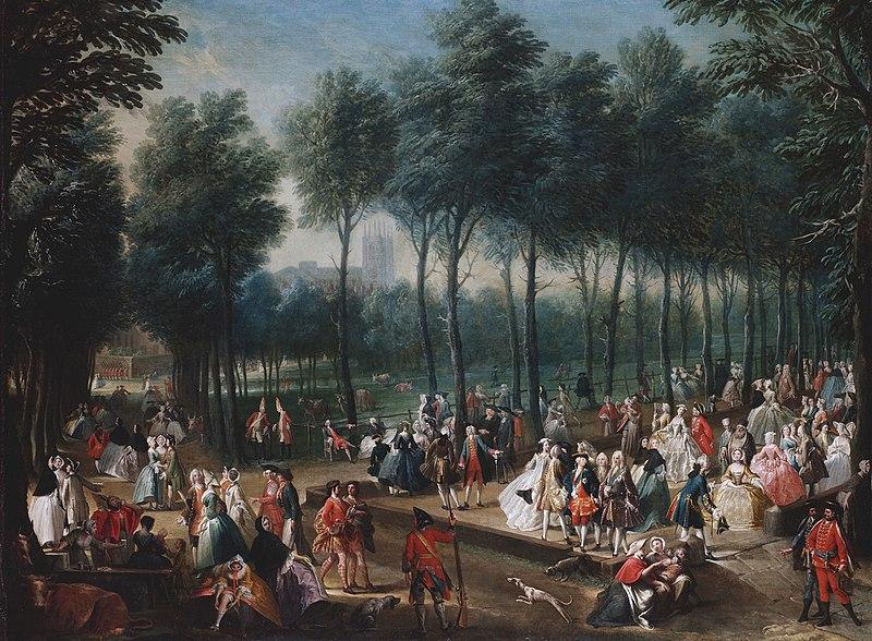 Saint James Park en 1745 : Le lieu tendance pour se compter fleurette entre gens de bonnes compagnies. Toile de Joseph Nickolls