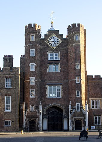 The Accession Council normally meets in St James's Palace to proclaim the new sovereign. St Jamess Palace.jpg