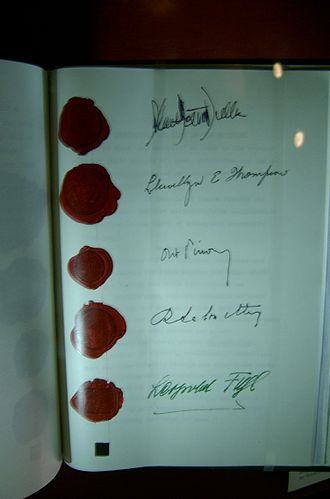 Austrian State Treaty - Austrian State Treaty with signatures of Dulles, Thompson, Pinay, Lalouette, and Leopold Figl, foreign minister of Austria
