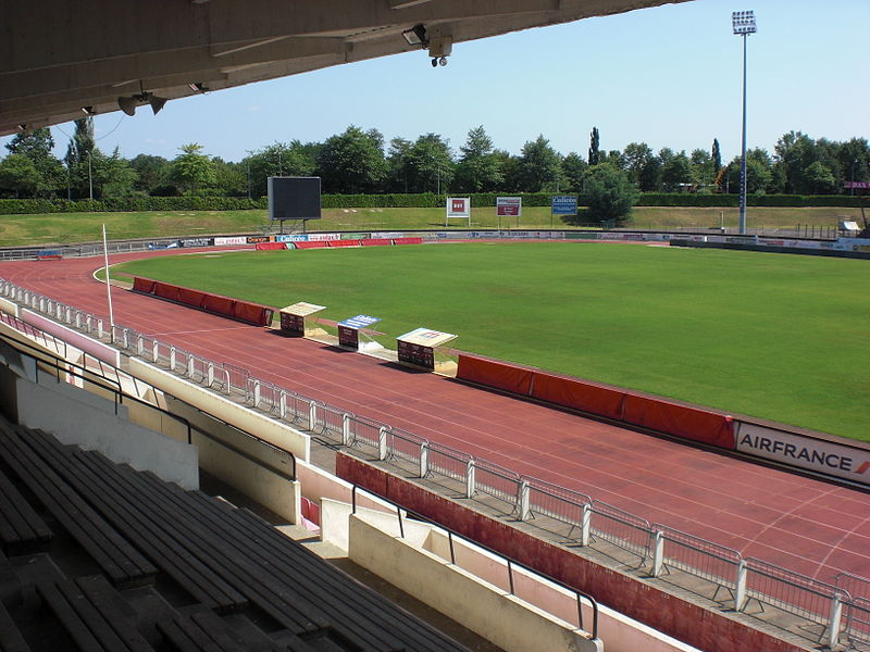 Rugby ground of Stade Maurice Boyau seen from honor tribune.