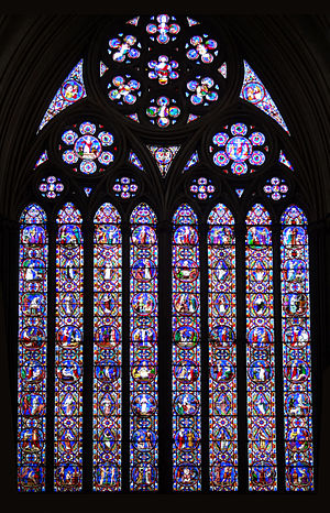 British and Irish stained glass (1811–1918) - One of the most prestigious stained glass commissions of the 19th century, the re-glazing of the 13th-century east window of Lincoln Cathedral, Ward and Hughes, 1855.