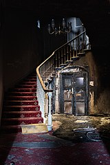 Staircase of the abandoned Central Hotel in Annan, Scotland (DSCF8956).jpg