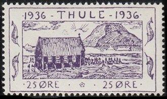 Thule - A local stamp of Greenland 1936, inscribed Thule