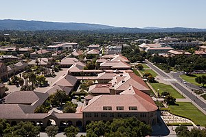 Stanford University - From the Hoover Tower one can see all of the Stanford campus. Pictured is the Main Quad and Serra Mall.