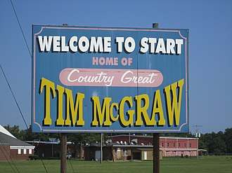 Tim McGraw - Start, Louisiana, welcome sign notes that McGraw once resided there.