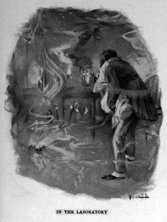 The Monster (novella) - Illustration of Henry Johnson carrying Jimmie through the burning house, by Peter Newell