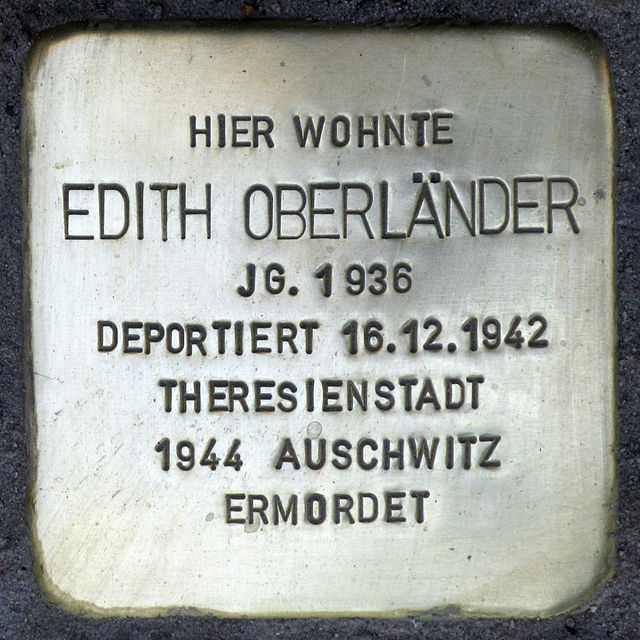 Photo of Edith Oberländer brass plaque