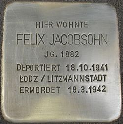 Photo of Felix Jacobsohn brass plaque