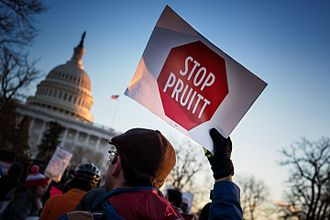 Scott Pruitt - Stop Pruitt sign, at a rally to oppose his nomination