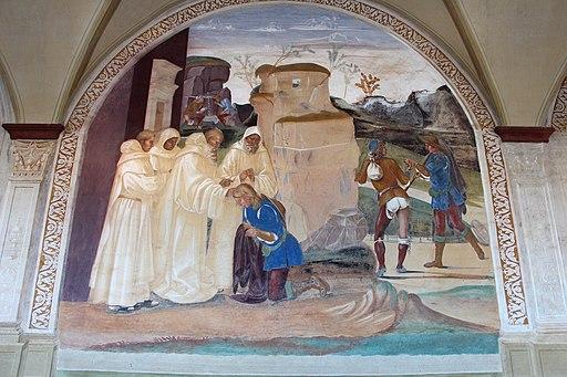 Luca Signorelli, le storie di San Benedetto, Scena 26, Come Benedetto rimprovera di violato digiuno lo fratello di Valeriano monaco
