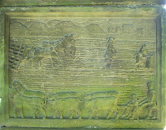Liberton, Edinburgh - Ploughing scene on the Straiton tombstone
