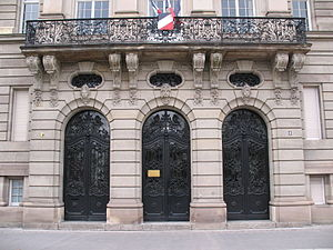 Taxation in France - The sumptuous main entrance of Direction régionale des finances publiques of Alsace in Strasbourg