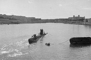 British 10th Submarine Flotilla (Malta) - Image: Submarines and Submarine Officers. 26 and 27 January, Malta Submarine Base. A14525