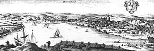 Hudiksvall - Hudiksvall around 1700, in Suecia antiqua et hodierna.