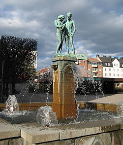 Fountain on Sundbybergs torg (square) in Central Sundbyberg