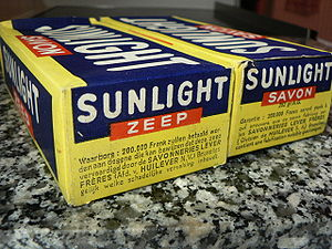 Nederlands: keldervondst: Oude Sunlight (zeep)...