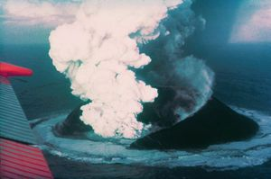 Surtsey, erupting 13 days after breaching the ...