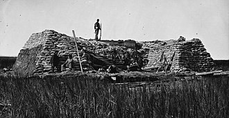1st New York Volunteer Engineer Regiment - The famed Marsh Battery featuring the Swamp Angel, after it had misfired and exploded on August 22, 1863