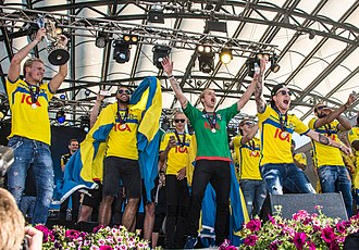 Sweden national under-21 football team - Sweden national under-21 football team celebrates in June 2015.