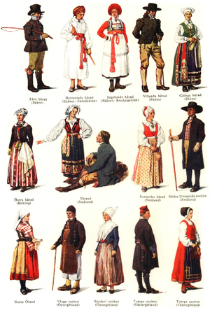 Culture of Sweden - Traditional Swedish national costumes according to Nordisk Familjebok.