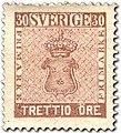Swedish stamp 30 Öre 1858 POST.054048.jpg