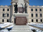 Civil War Memorial Public Square, facing State Street in front of Courthouse, Sycamore, Illinois.