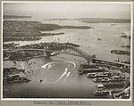 Sydney Harbour Bridge and display of speed boats, 19 March 1932 (6173529523).jpg