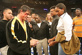 16 years after filming Rocky V, Stallone reprised his role as Rocky Balboa in 2006 Sylvester Stallone Rocky VI 2005.JPG